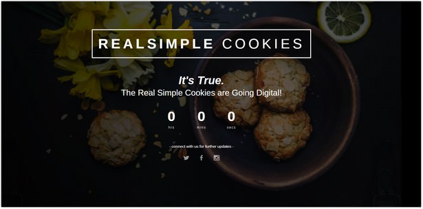 Coming Soon Template Real Simple Cookies
