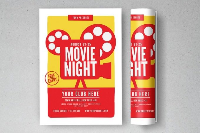 Free Entry Movie Night Flyer
