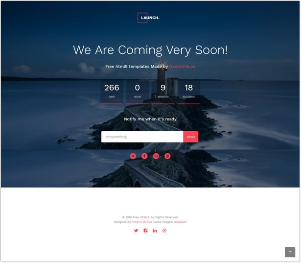 HTML5 Bootstrap Template for Coming Soon page