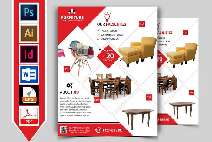 Furniture Shop Flyer Template (DOC, AI, EPS, PSD, PDF, INDD)