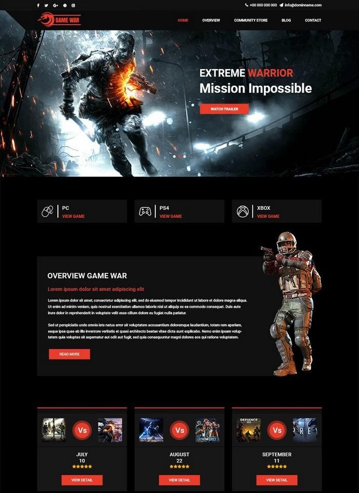 Game War - Game Portal PSD Template