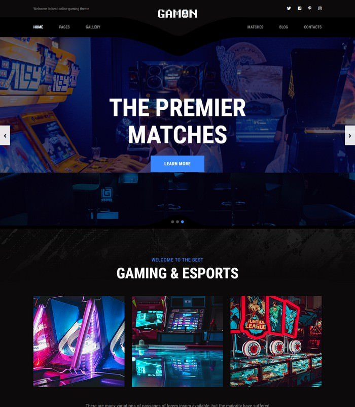 Gamon - eSports and Gaming HTML Template