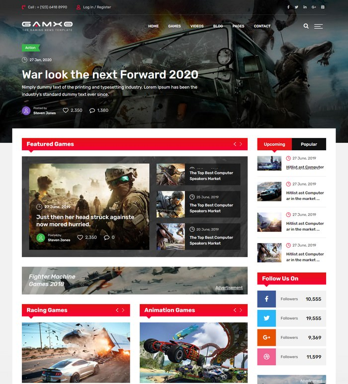 Gamxo - Games News Gaming HTML5 Template