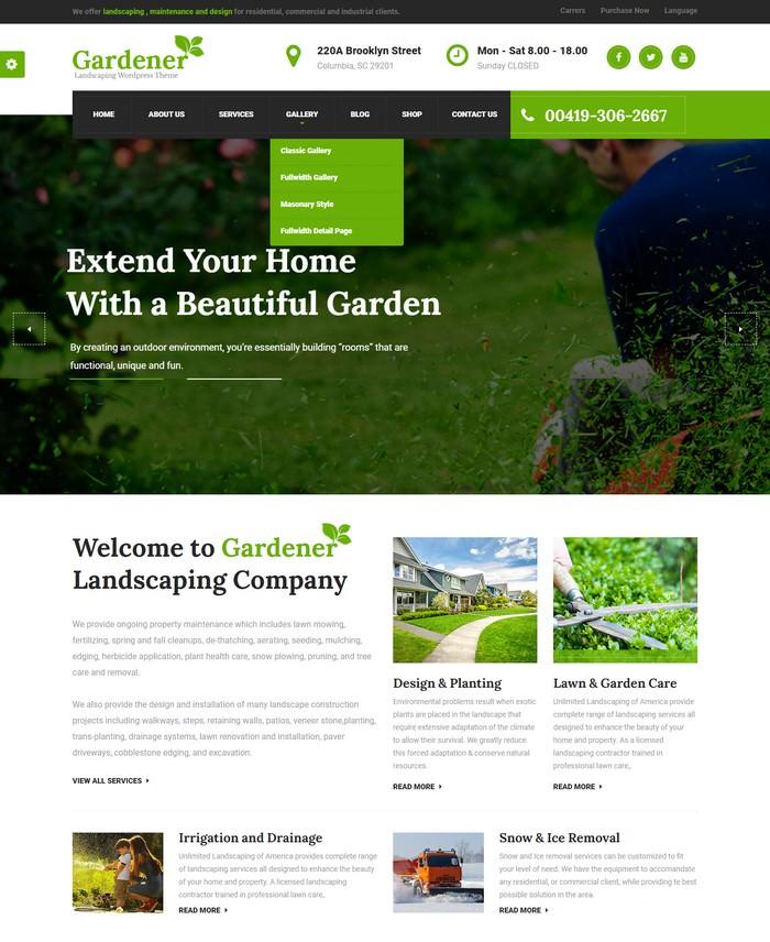 Gardener - Lawn and Landscaping WordPress Theme
