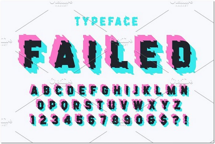 Glitched Display Font Design