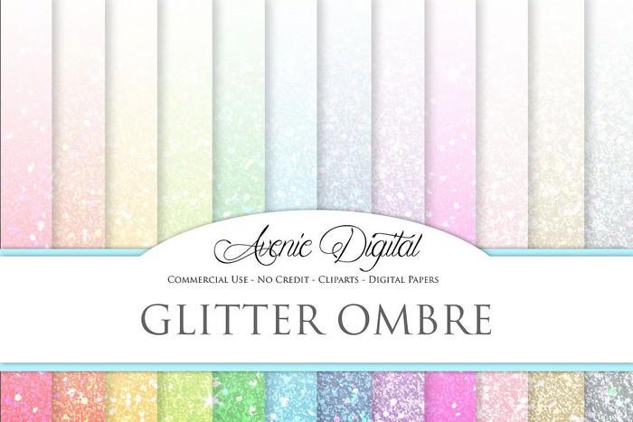 Glitter Ombre Digital Paper Textures