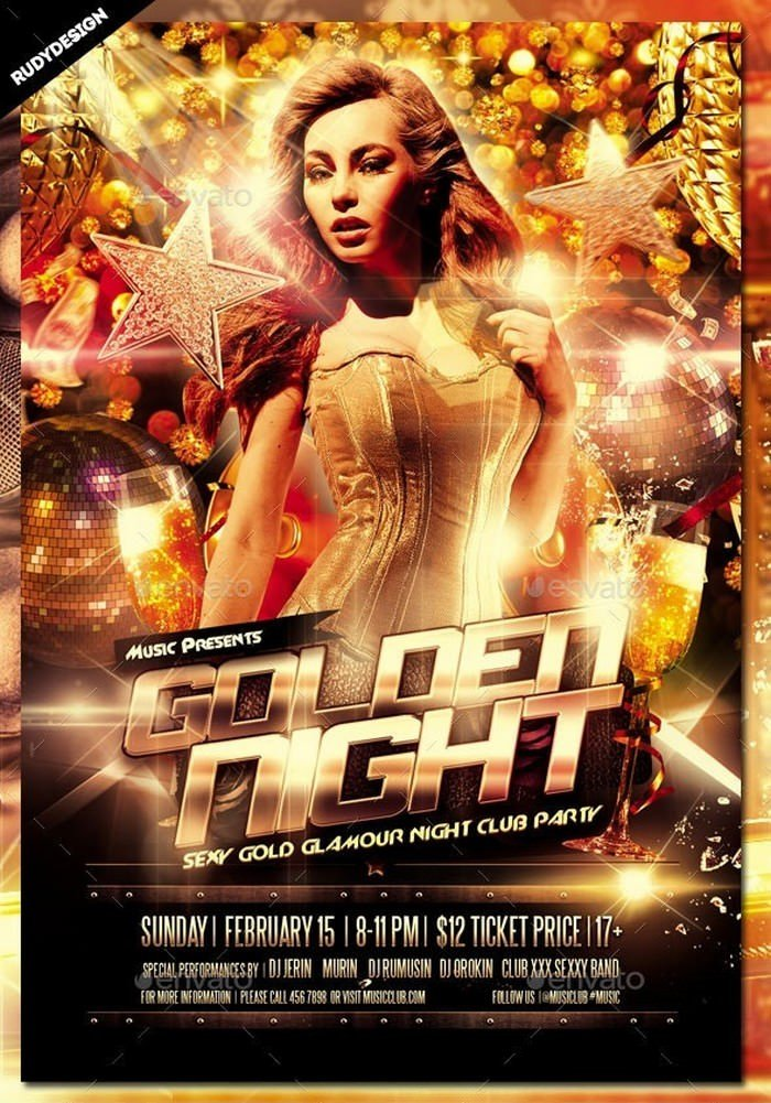 Golden Night Club Party Flyer