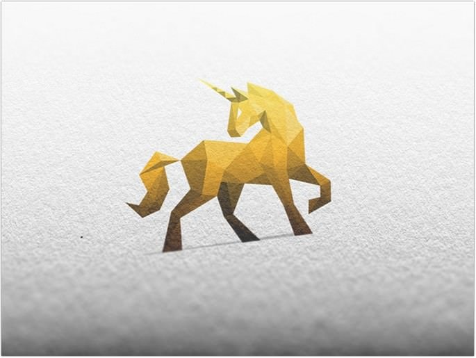 Golden Unicorn Logo Design