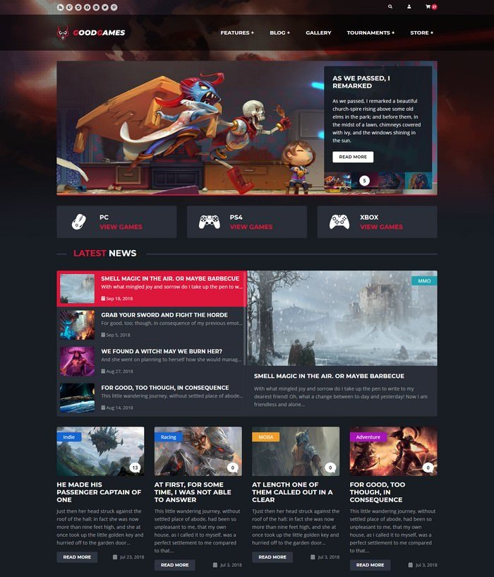 Good Games - Bootstrap 4 Based HTML Template