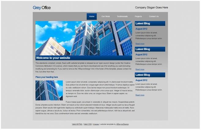 Grey OfficeDreamweaver Template