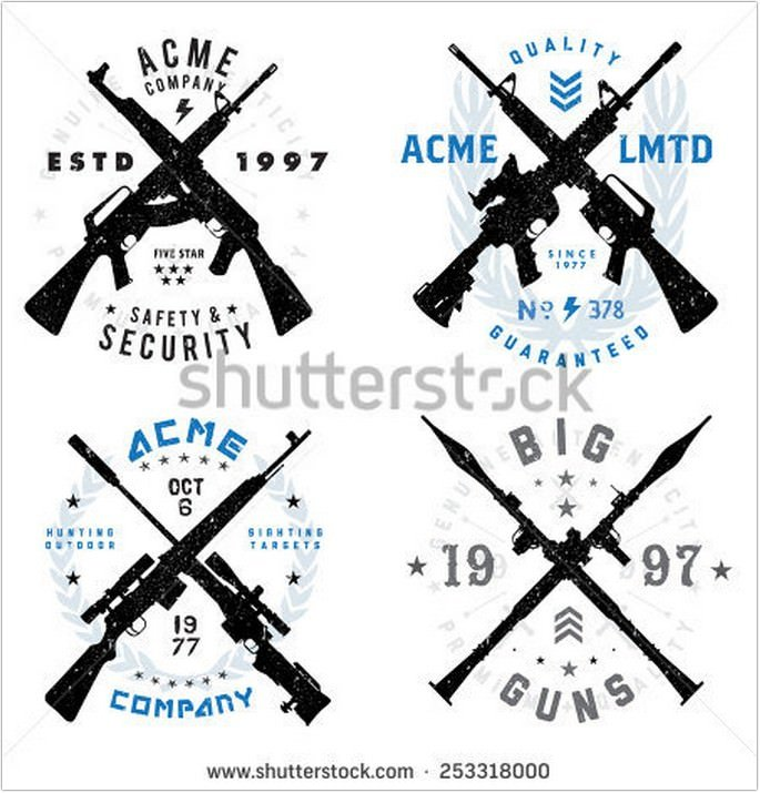 Gun Badges Set Logo