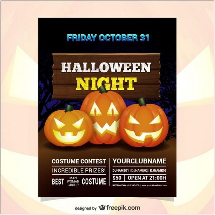 Halloween Night Costume Contest Flyer