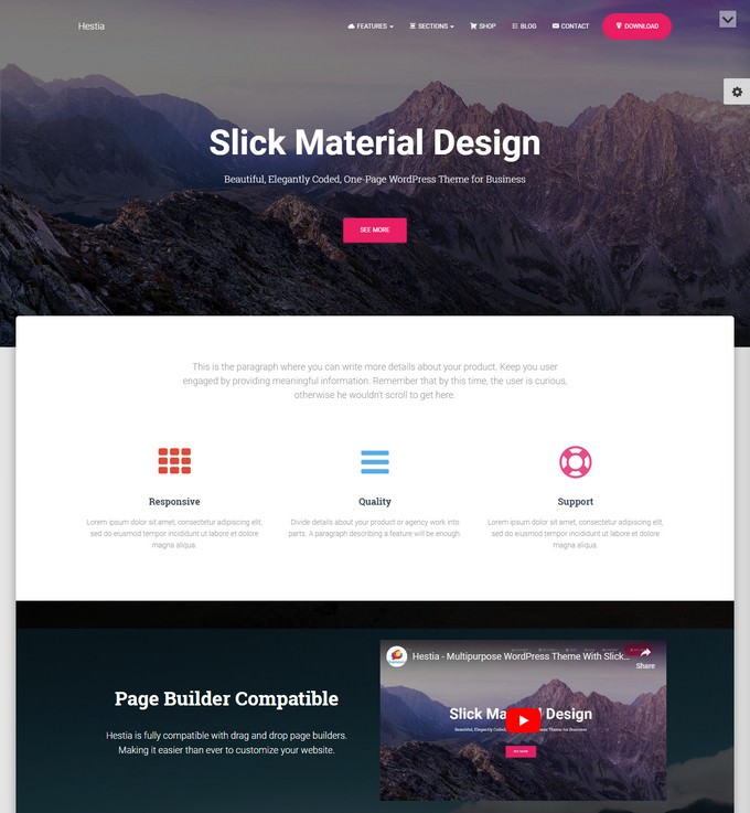 Hestia Material Design WordPress Theme