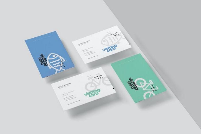 Horizontal Visiting Card Mockup Set