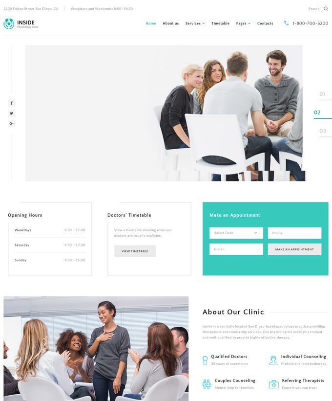 Inside - Psychology Clinic Multipage HTML5 Website Template
