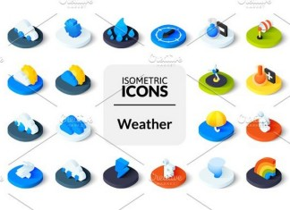 Isometric icons - Weather