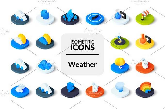 Isometric icons - Weather