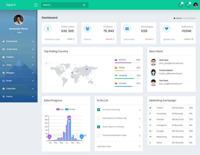 Jeparo - Responsive Bootstrap 4 Admin Dashboard Template