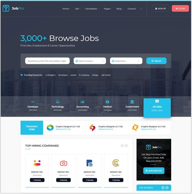 22  best job portal html5 website templates 2018