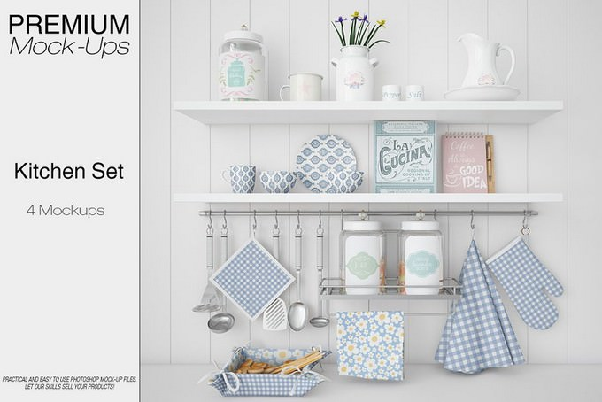 Kitchen Accessories Set Mockup