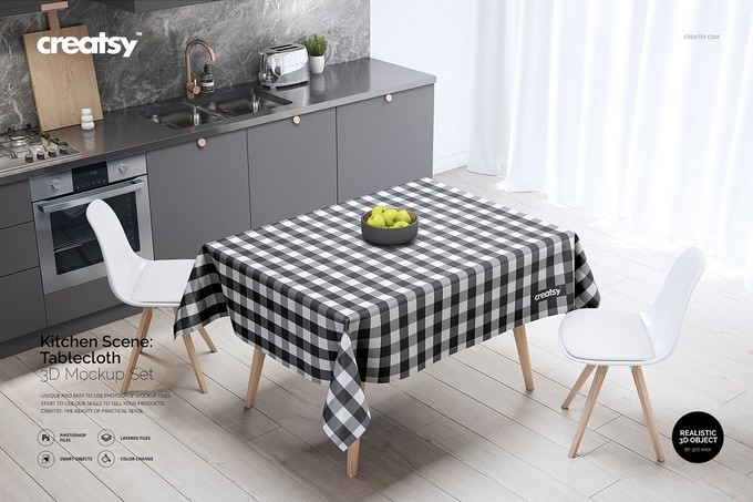 Kitchen Scene Tablecloth Mockup