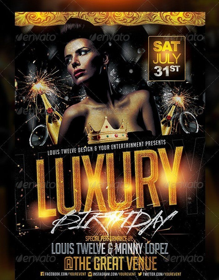 Luxury Birthday Golden Night Flyer Template