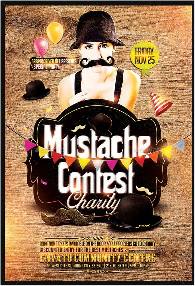 Mustache Contest Party Flyer Template PSD