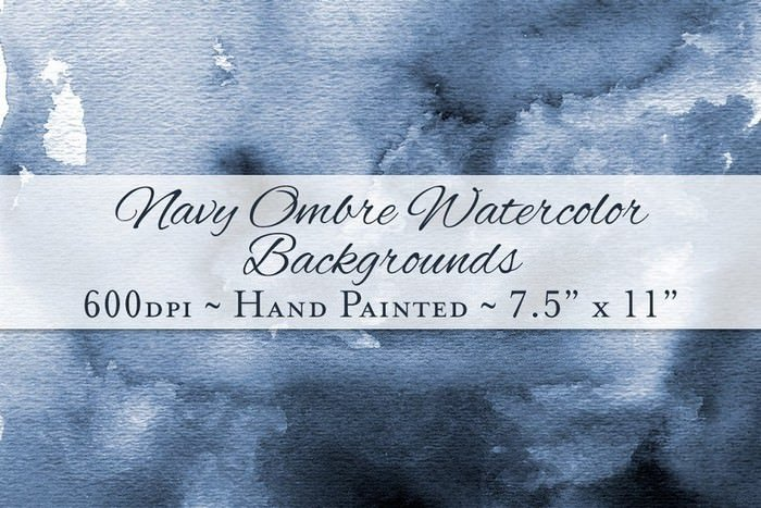 Navy Ombre Watercolor Backgrounds