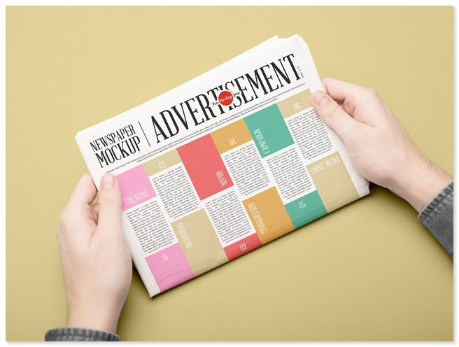 Newspaper Mockup PSD For Advertisement 2018