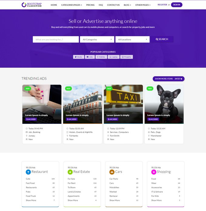 OBootstrap Classified Responsive Website Template