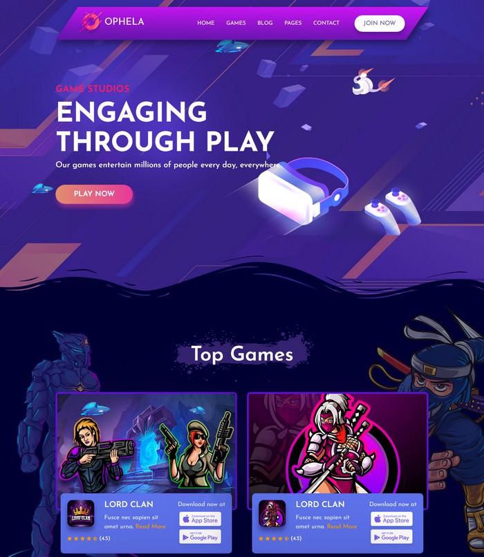 Ophela - Gaming Studio HTML Template