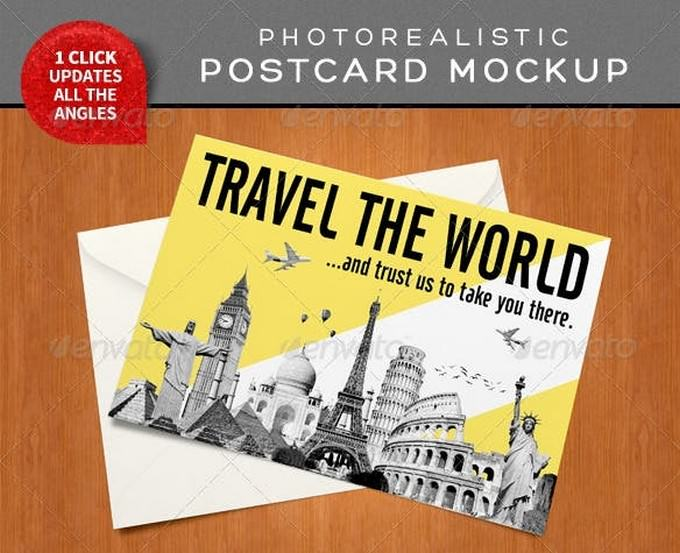 Photorealistic Postcard Mock-Ups