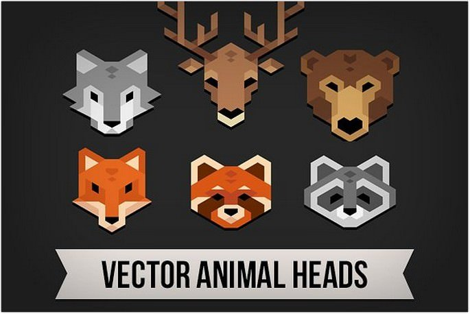 Polygonal Animal Heads Logo
