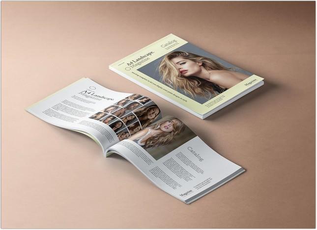 Premium A4 Landscape Magazine Mockup PSD
