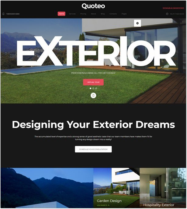 Exterior And Landscape Design Website Template