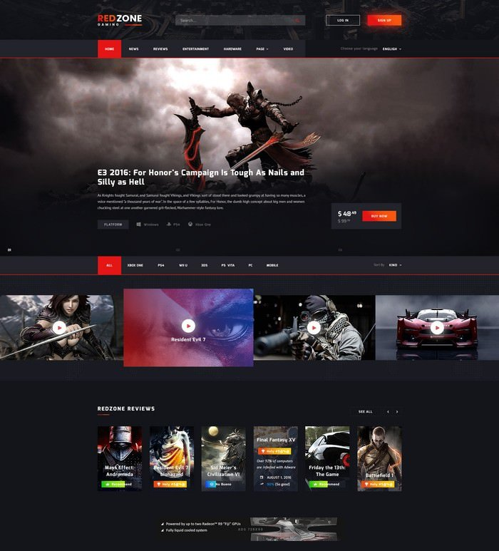 Red Zone - Game PSD Template