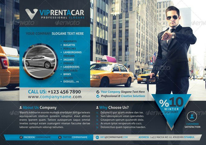 Rent A Car Business Flyer Template