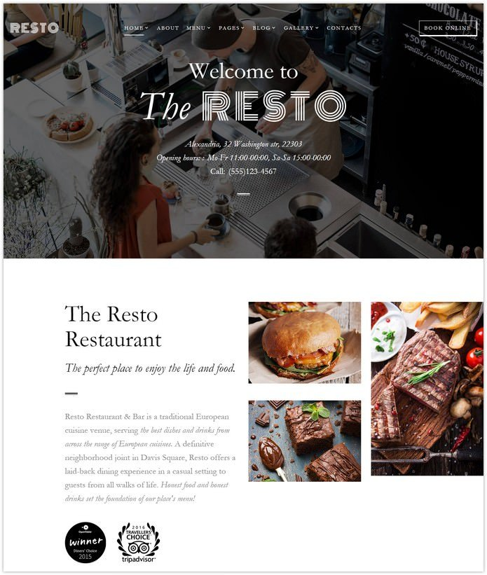 Cafe & Restaurant Multipage Website Template