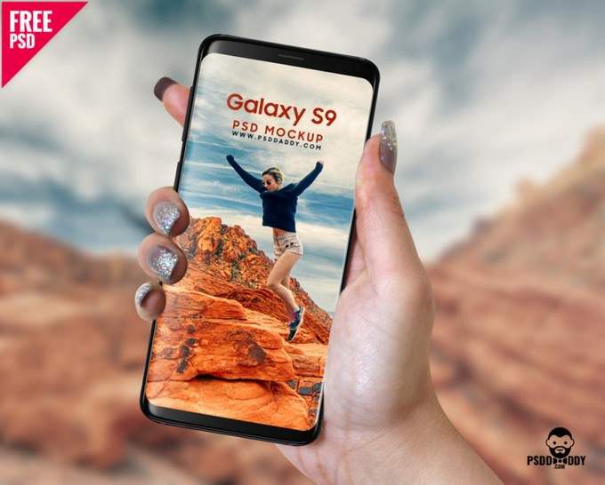 Samsung Galaxy S9 in Hand PSD Mockup