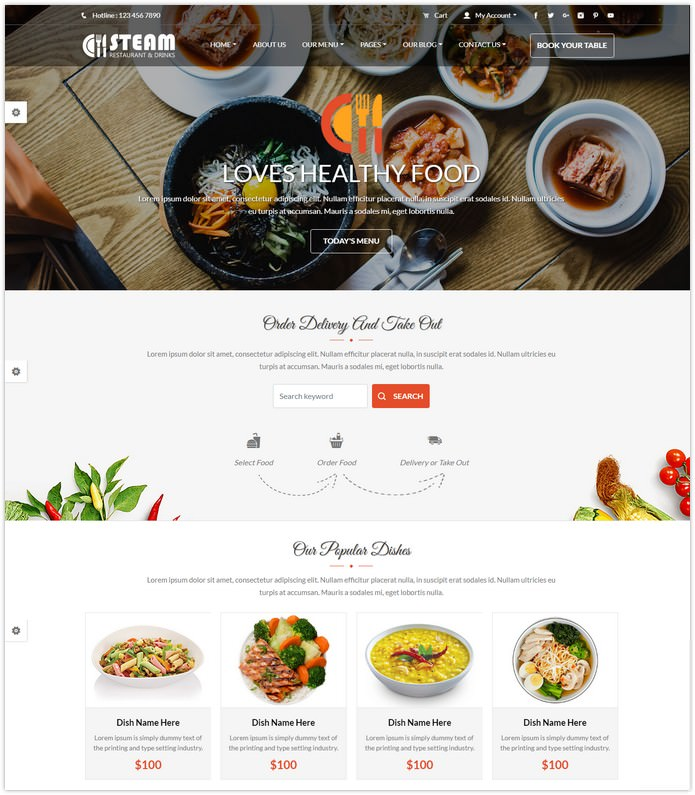 Restaurant, Food & Drinks HTML 5 Website Template