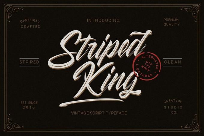 Striped King Vintage Script