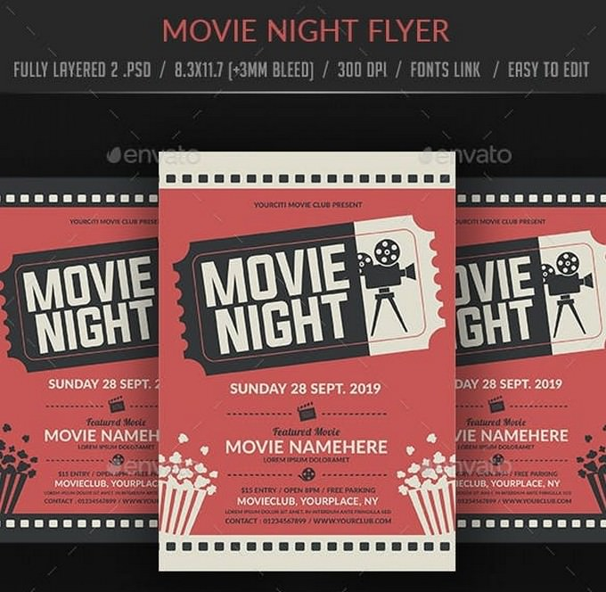 Sunday Movie Night Flyer Templates
