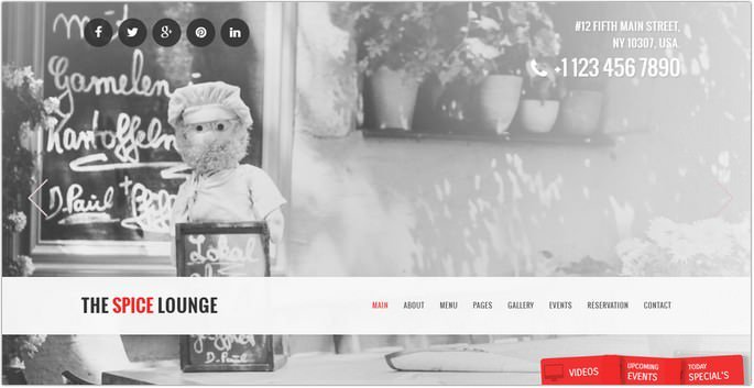 The Spice Lounge - Restaurant / Cafe HTML5 Template