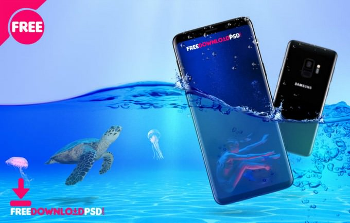 Underwater Samsung Galaxy S9 Mockup