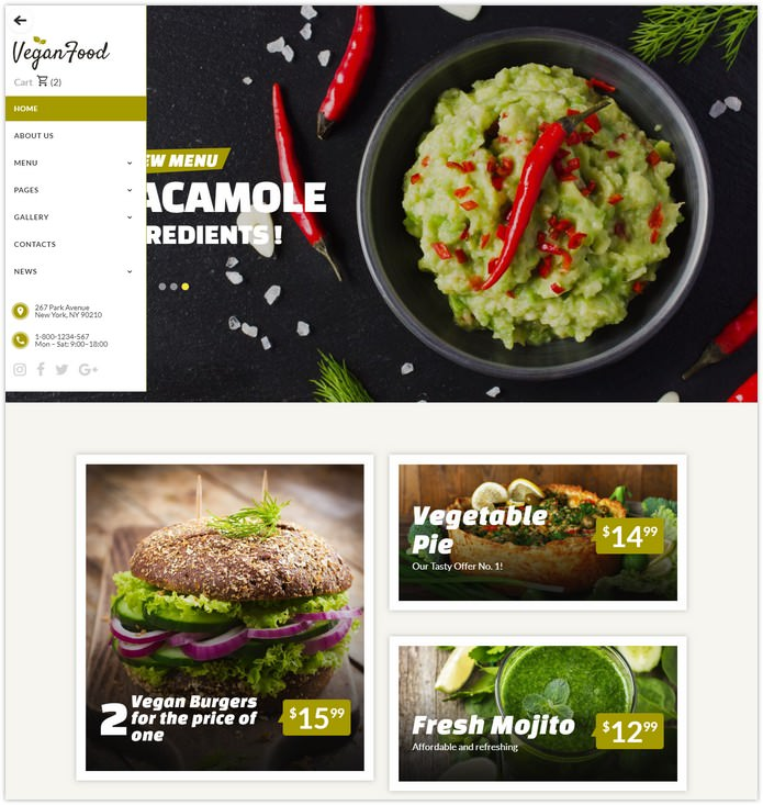 Vegetarian Restaurant Responsive Website Template