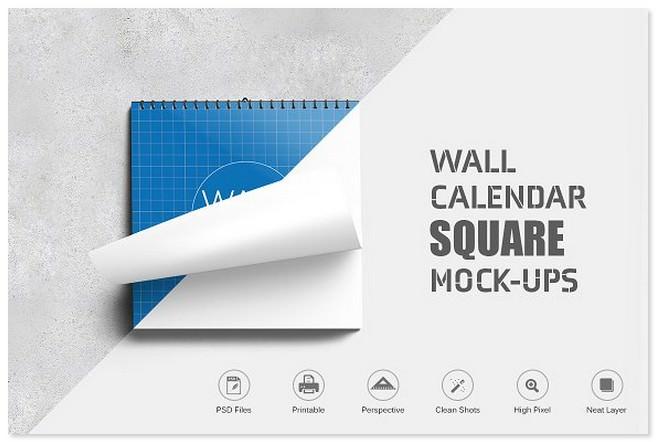 Wall Calendar Square Mockup