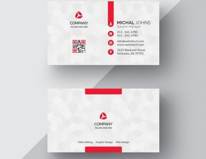 White Visiting Card With Red Details