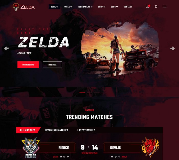 Zelda - eSports & Gaming Template