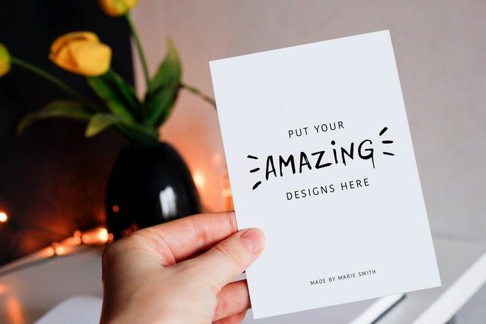7 Mockups for Postcards & Drawing