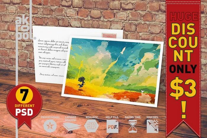 7-Postcard & Invitation Mock-up